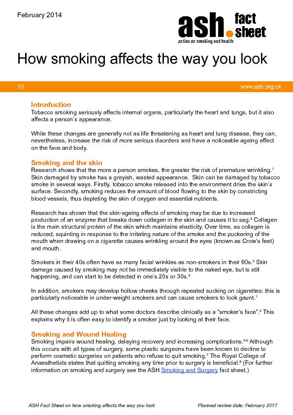 ASH Fact Sheet on how smoking affects the way you lookPlanned review d