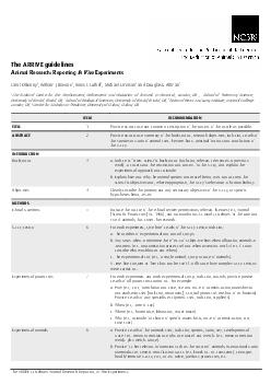 The ARRIVE guidelines Animal Research Reporting In Vivo Experiments The ARRIVE g