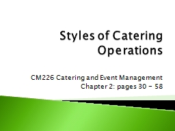 Styles of Catering Operations