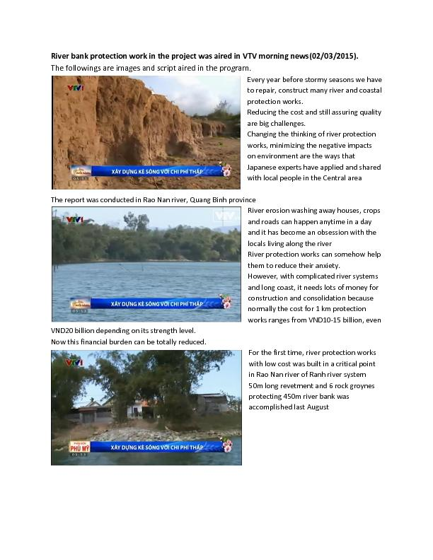 River bank protection work in the project was aired in VTV morning new