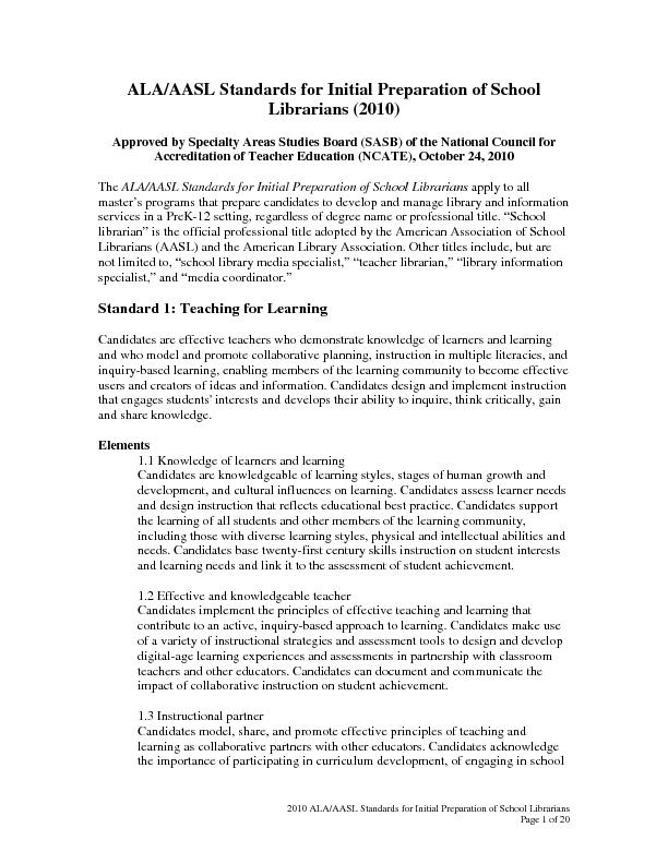2010 ALA/AASL Standards for Initial Preparation of School Librarians P