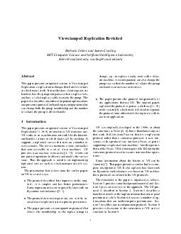 Viewstamped Replication Revisited Barbara Liskov and James Cowling MIT Computer Science and Articial Intelligence Laboratory liskovcsail