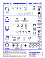 GUIDE TO APPARELTEXTILE CARE SYMBOLS Wash Bleach Dry Machine Wash Cycles Tumble Dry Cycles Tumble Heat Settings Iron Dry or Steam Dryclean  Normal Cycle Dryclean  Additional Instructions Maximum Temp