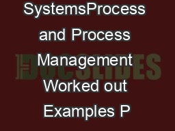 Operating SystemsProcess and Process Management Worked out Examples P PDF document - DocSlides