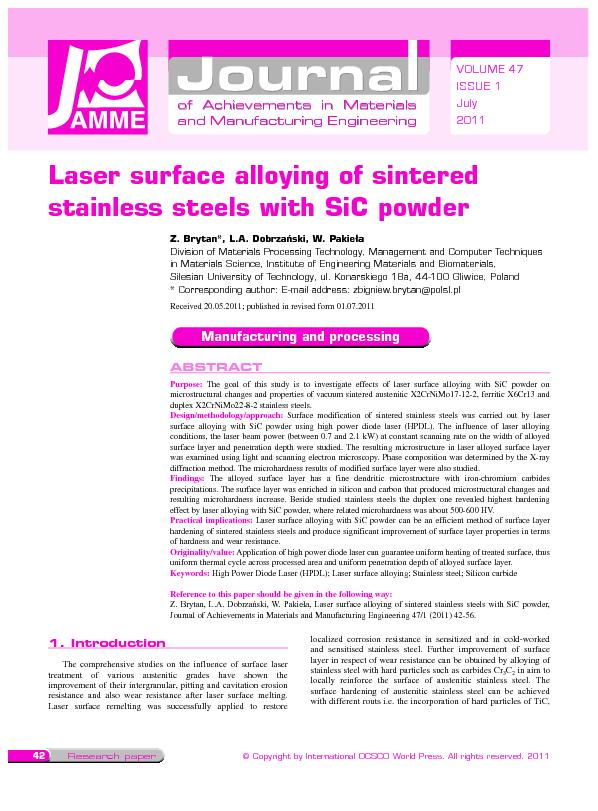 Laser surface alloying of sintered