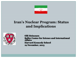 Iran's Nuclear Program: Status and Implications