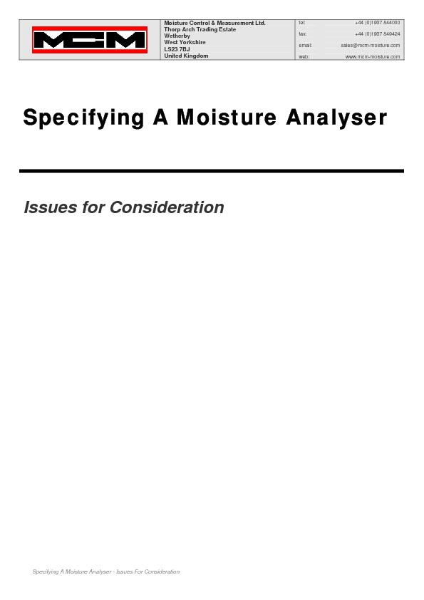 Specifying A Moisture Analyser - Issues For Consideration