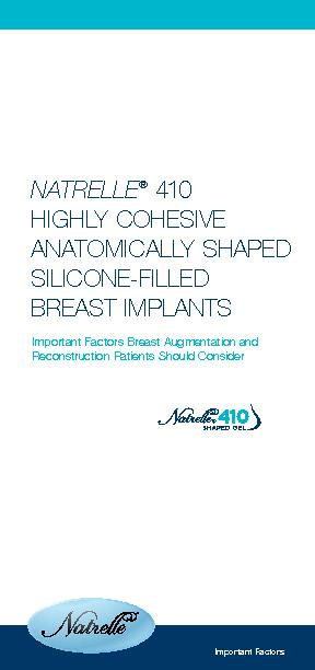 Important Factors Breast Augmentation and NATRELLE410HIGHLY COHESIVE A
