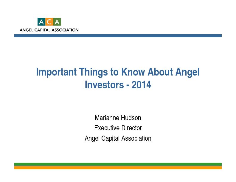 Important Things to Know About Angel Investors -2014Angel Capital Asso