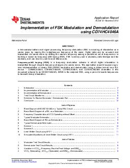 Application Report SLAA  November  Implementation of FSK Modulation and Demodulation using CDHCA Mahendra Patel