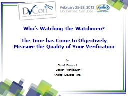 Who's Watching the Watchmen? PowerPoint PPT Presentation