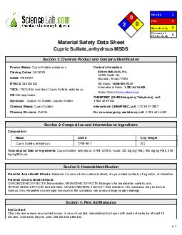 Material Safety Data SheetCupric Sulfate, anhydrous MSDS