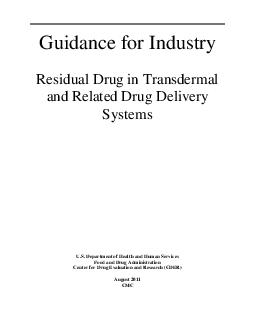 Guidance for Industry Residual Drug in Transdermal and Related Drug Delivery Systems U