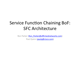 Service Function Chaining