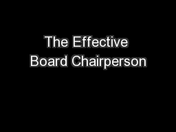 The Effective Board Chairperson