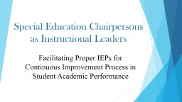 Special Education Chairpersons as Instructional Leaders