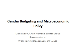 Gender Budgeting and Macroeconomic Policy