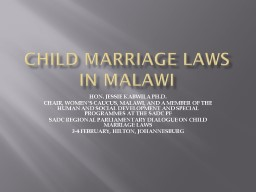 CHILD MARRIAGE LAWS IN MALAWI