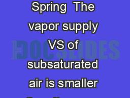 Approaches to saturation Fovell  AS   Spring  The vapor supply VS of subsaturated air is smaller than its vapor capacity VC PDF document - DocSlides