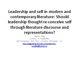 Leadership and self in modern and contemporary literature: PowerPoint PPT Presentation