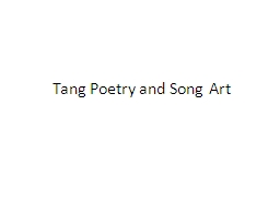 Tang Poetry and Song