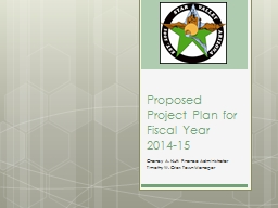 Proposed Project Plan for Fiscal
