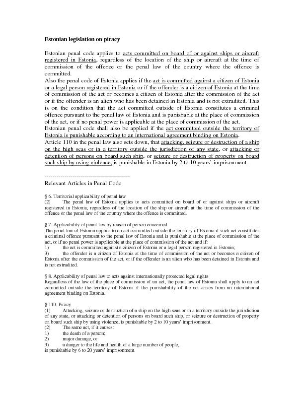 Estonian penal code applies to acts committed on board of or against s