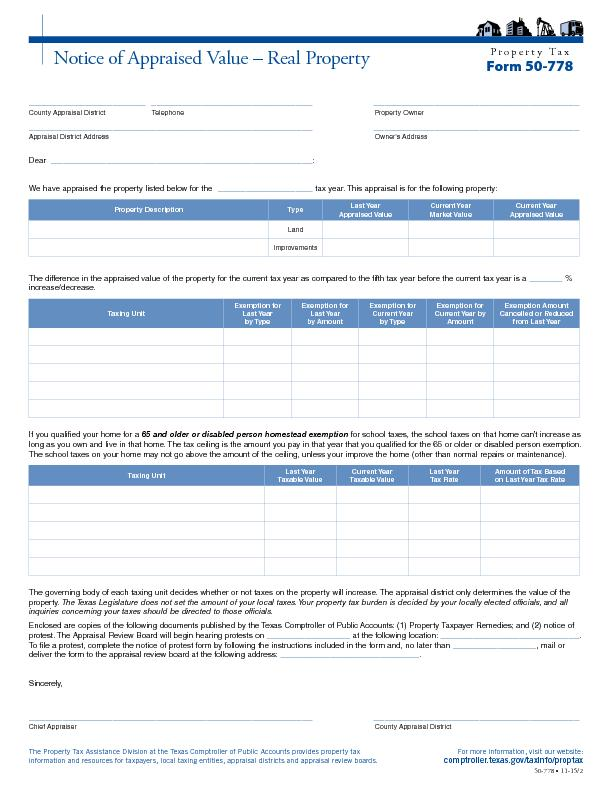 Property TaxForm 50-778Notice of Appraised Value – Real Property