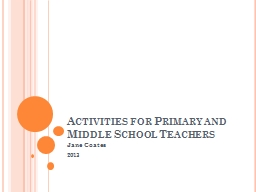 Activities for Primary and Middle School Teachers