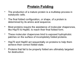 Protein Folding PowerPoint PPT Presentation