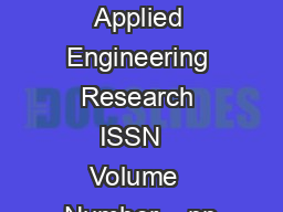 International Journal of Applied Engineering Research ISSN   Volume  Number    pp