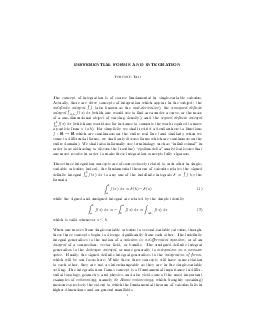 DIFFERENTIALFORMSANDINTEGRATION TERENCE TAO The concept of integration is of course fundamental in singlevariable calculus