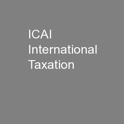 ICAI International Taxation