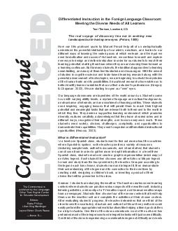 LOTELOTE LOTELOTE LOTE CEDCED CEDCED CED Communiqu Communiqu Communiqu Communiqu Communiqu The Communiqu is published by the Languages Other Than English Center for Educator Development Editors Elain