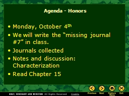 Agenda - Honors PowerPoint PPT Presentation