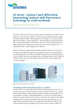 XSSeries  Sysmex part differential haematology analyser with flourescence technology for small workloads Sysmex Xtra Online  July Since the introduction of uorescence technology for white blood cells