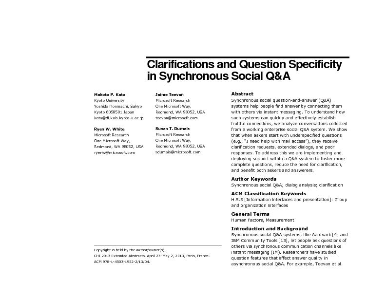 Clarifications and Question Specificity
