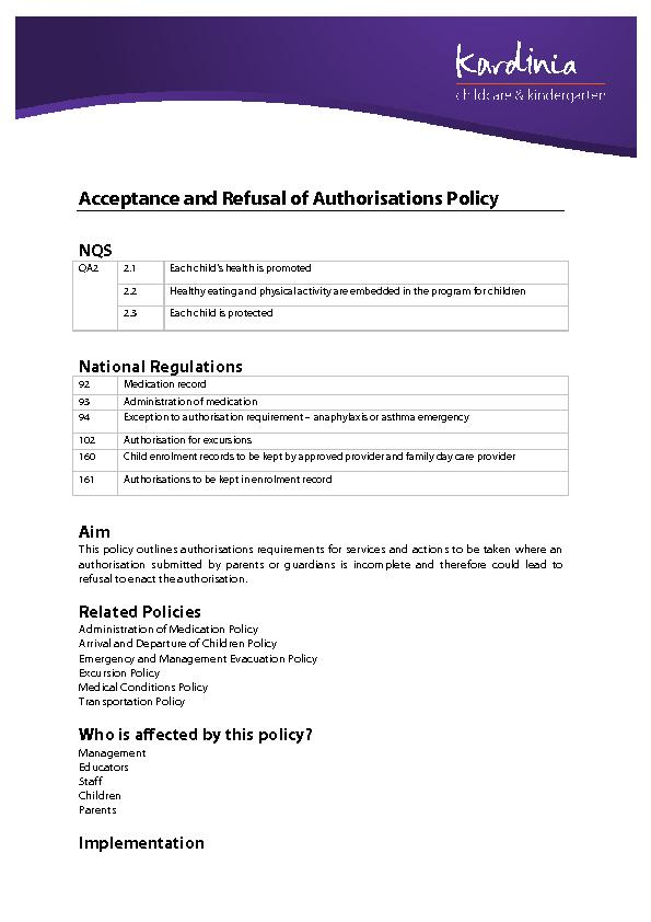 Acceptance and Refusal of Authorisations Policy