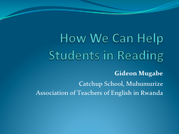How We Can Help Students in Reading