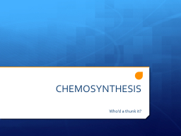 CHEMOSYNTHESIS PowerPoint PPT Presentation
