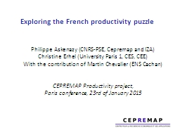 Exploring the French productivity puzzle PowerPoint PPT Presentation