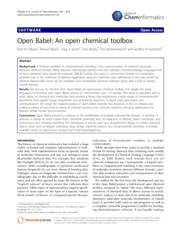 OpenBabel:Anopenchemicaltoolbox