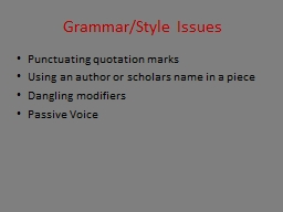 Grammar/Style Issues