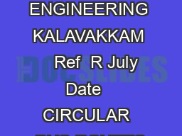 SSN COLLEGE OF ENGINEERING KALAVAKKAM    Ref  R July Date   CIRCULAR  BUS ROUTES