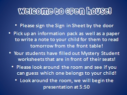 Welcome to Open House! PowerPoint Presentation, PPT - DocSlides