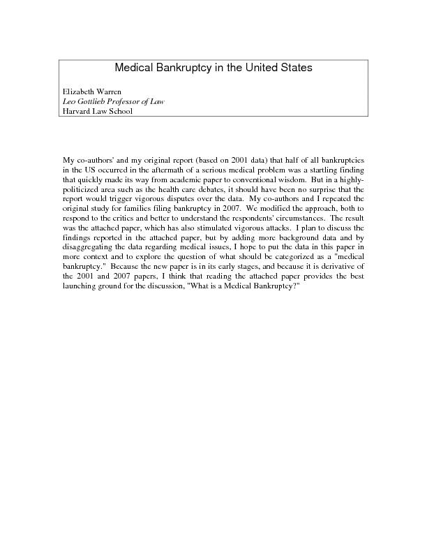 Medical Bankruptcy in the United States