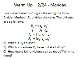 Warm Up – 2/24 - Monday PowerPoint PPT Presentation