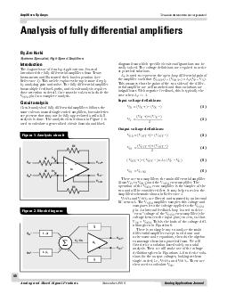 Analog Applications Journal Analog and MixedSignal Products November  Analysis of fully differential amplifiers Introduction The August issue of Analog Applications Journal introduced the fully diff
