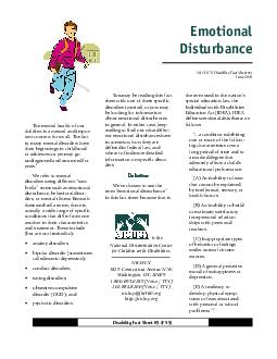 Emotional Disturbance Disability Fact Sheet  FS NICHCY Disability Fact Sheet  June  The mental health of our children is a natural and impor tant concern for us all PDF document - DocSlides