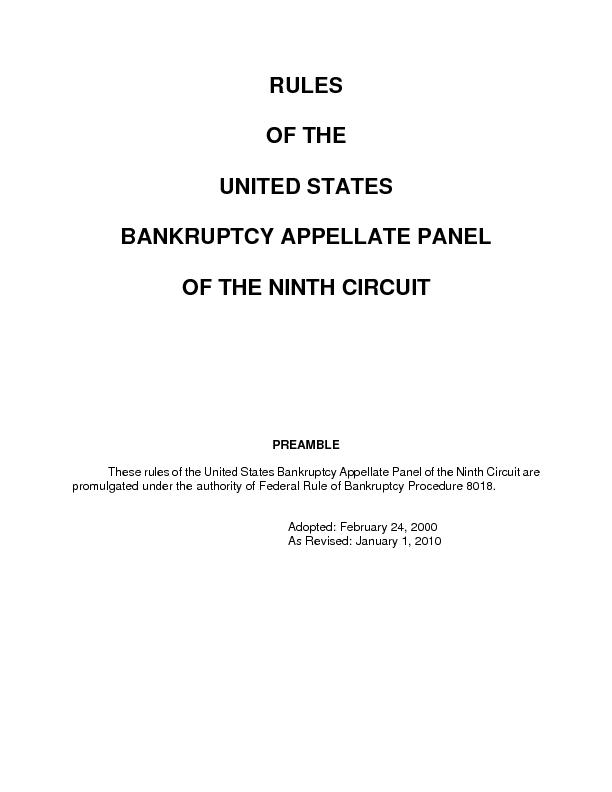 These rules of the United States Bankruptcy Appellate Panel of the Nin